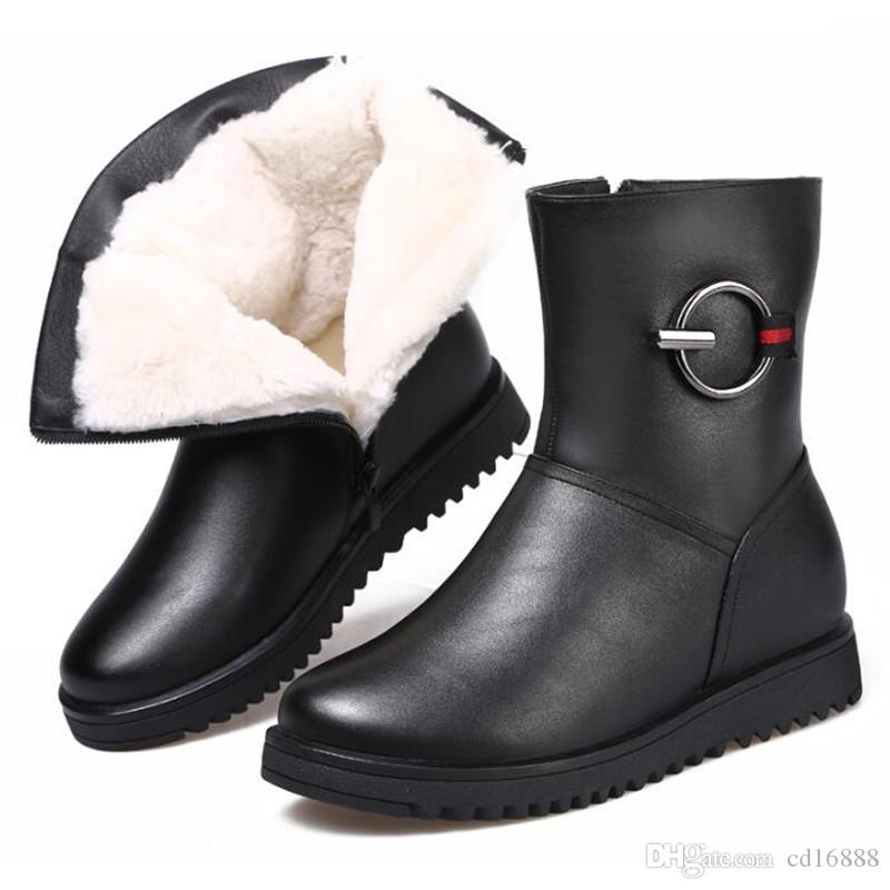 Noble Elegant winter warm shoes Fur one wool cowhide Leather Boots flat non-slip Winter shoes Snow boots 2019 new snow shoes women boots
