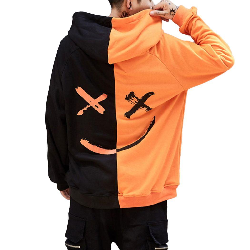 new style d4bee bbaa6 Harajuku Smile Print Herren Sweatshirts Hoodies Hip Hop Streetwear  Sweatshirt Männlich Orange Schwarz Rot Block Mit Kapuze Hoddies Männer Emoji