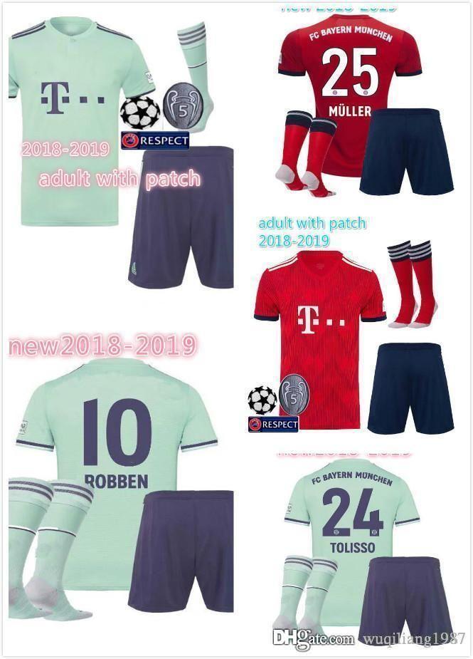 Compre 2018 2019   25 MULLER Camisa De Futebol 18 19 Home Away Adulto Kit  Camisa De Futebol Personalizado   11 JAMES   9 LEWANDOWSKI Bayern De  Munique ... 2148c28191e24