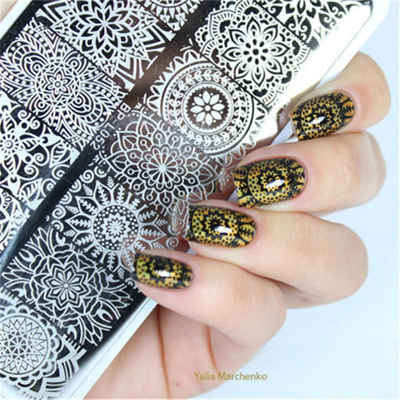 Image Plate BORN PRETTY Rectangle Nail Stamping Template Floral ...