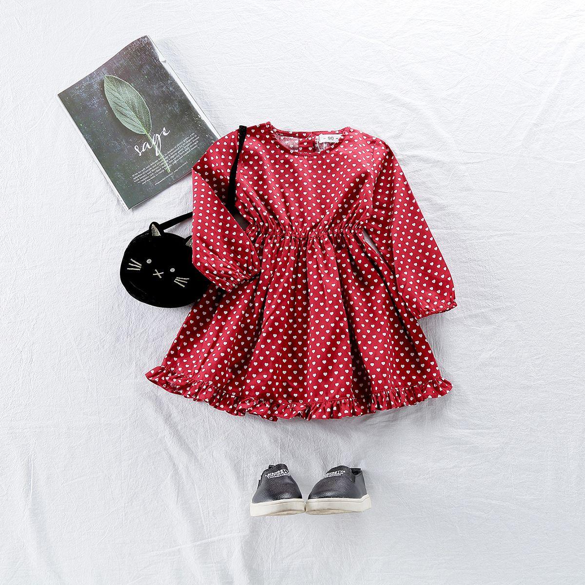 01cf57d11c91b 2019 New Spring Cotton Baby Girls Cartoon Love Heart Long Sleeves Dress  Children s Clothing Kids Princess Dresses Casual Clothes