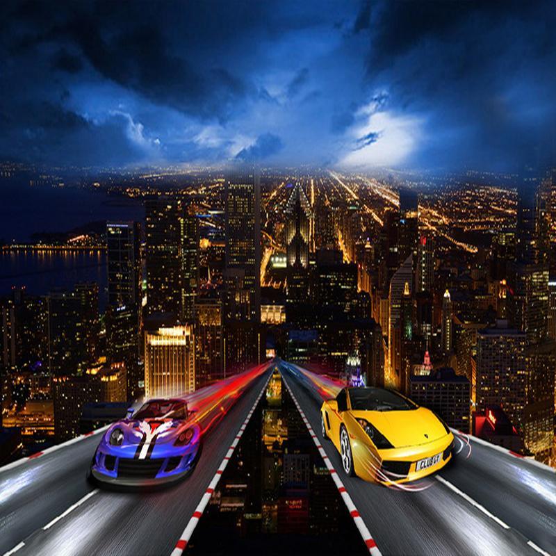 Satın Al özel Fotoğraf Kağıdı 3d Araba şehir Gece Görünümü Büyük