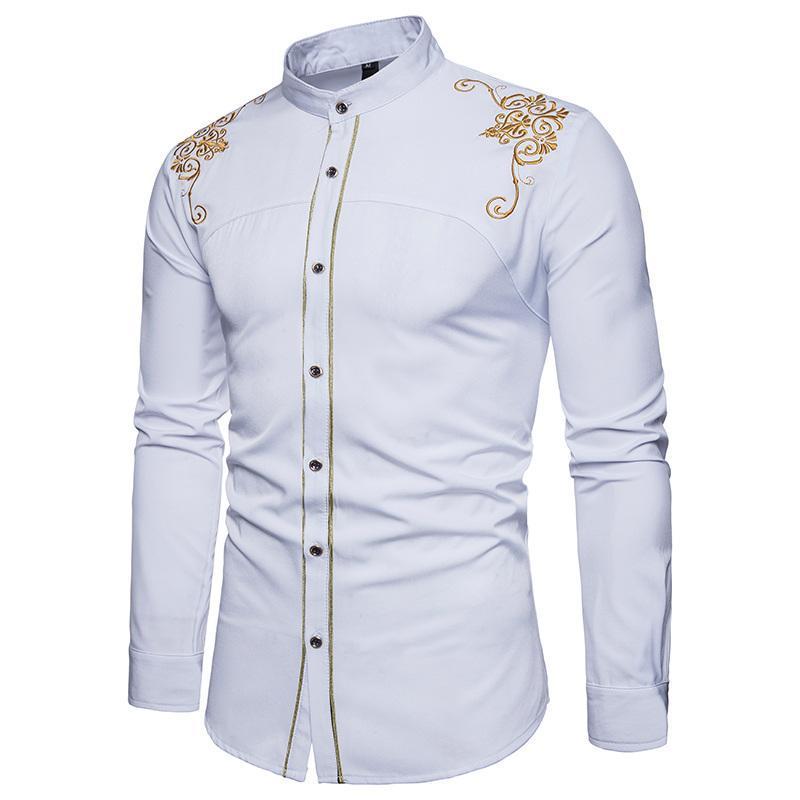 655fd2ddfc79 Acheter Chemises À Manches Longues Pour Hommes Exquis De Broderie Nouveau  Parti De Mode Hommes Habillés Hommes Marque Chemises Coton Chemise D été  Pour ...