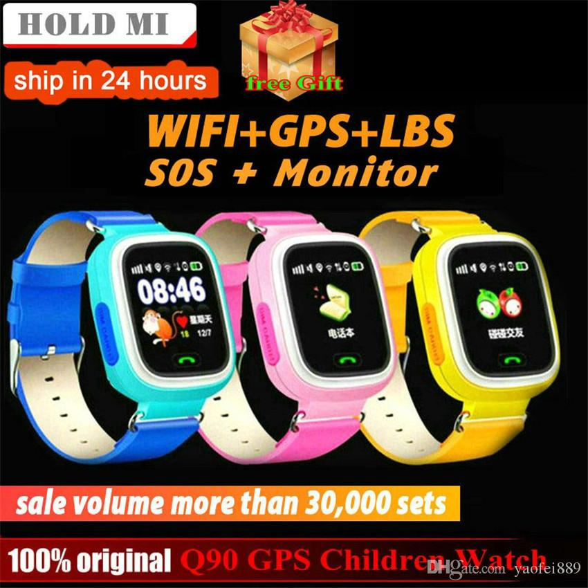 Q90 GPS Child Smart Watch Phone Position track Children smartwatch 1 22  inch Color Touch Screen WIFI SOS Smart Baby Watch Q50 q80 q60 Watch