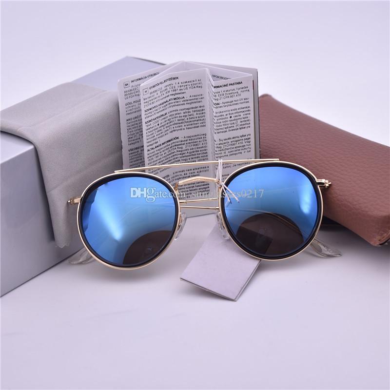 0f62d0e686 Compre Marca De Protección UV Gafas De Sol Gafas De Sol Redondas Para  Hombres Mujeres Al Aire Libre Deporte Retro Gafas De Sol De Moda 54mm Con  Estuche Y ...