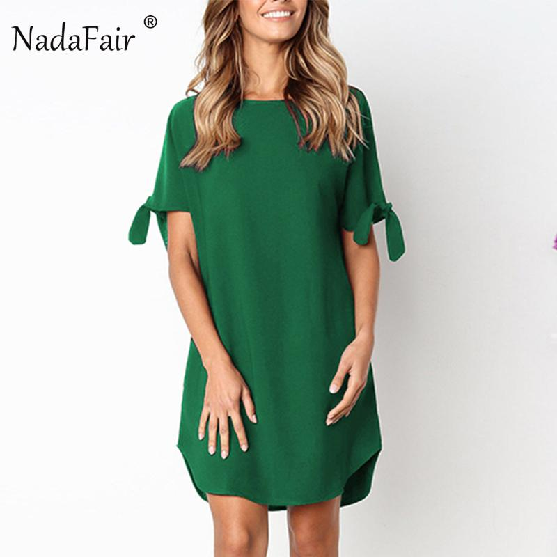 4b666c7a2650 2019 Nadafair O Neck Short Sleeve Straight Mini Summer Dress Women Casual  Beach Dress Holiday Loose Shirt Dress Black Green Red Y190121 From  Shenyan01