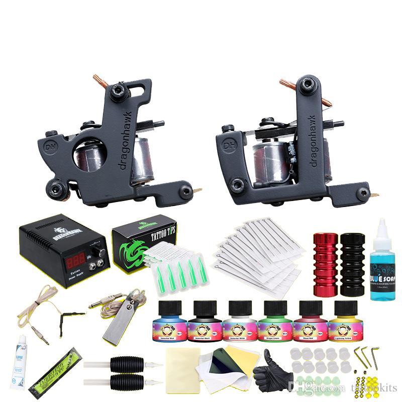 Beginner Tattoo Kit 2 Guns Machines Inks Tattoo Set Power Supply ...