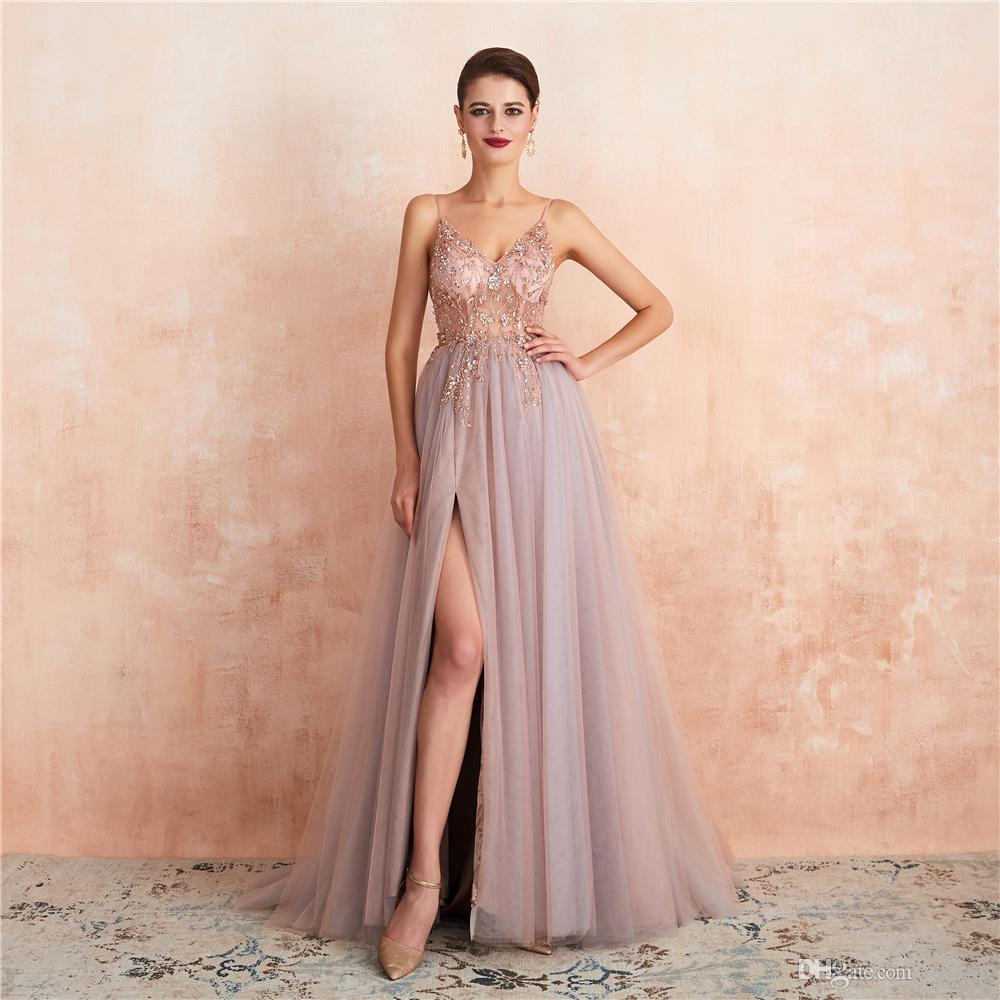 2020 new designer occasion dresses pink illusion evening high split side prom dress sex new trend party dresses