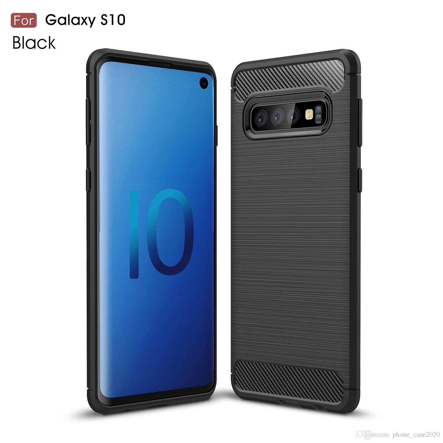 low priced 69bf9 a8b3f Slim Brushed Carbon Fiber Soft Case For Samsung Galaxy S10 S10 Plus S10e  Note 9 S9 Plus S8 Plus Note8 S7 Edge S6Edge