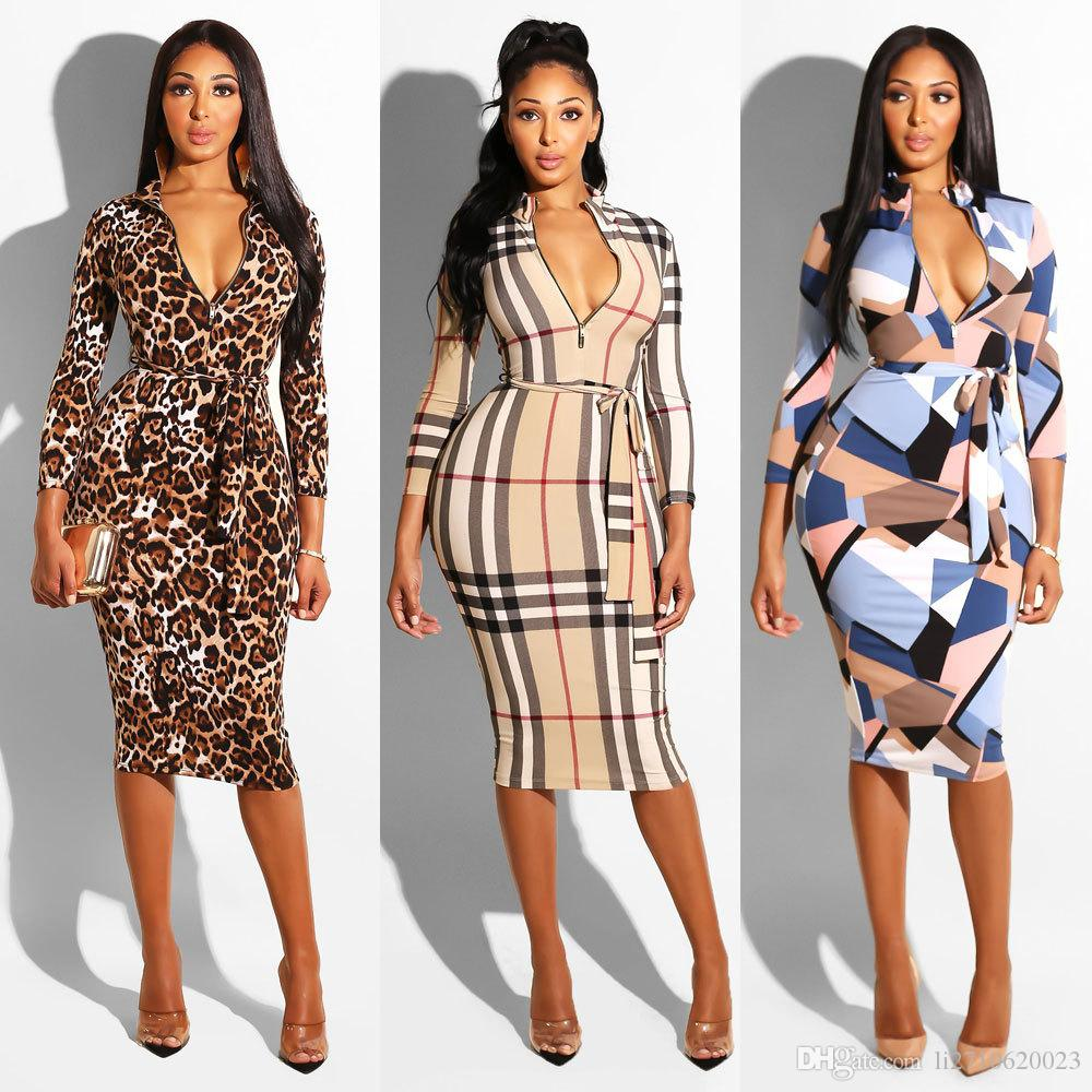 2019 New Sexy Leopard Women Dresses Long Sleeve Zippers Printed Bodycon Party Dresses Sexy dresses Clubwear With Sashes