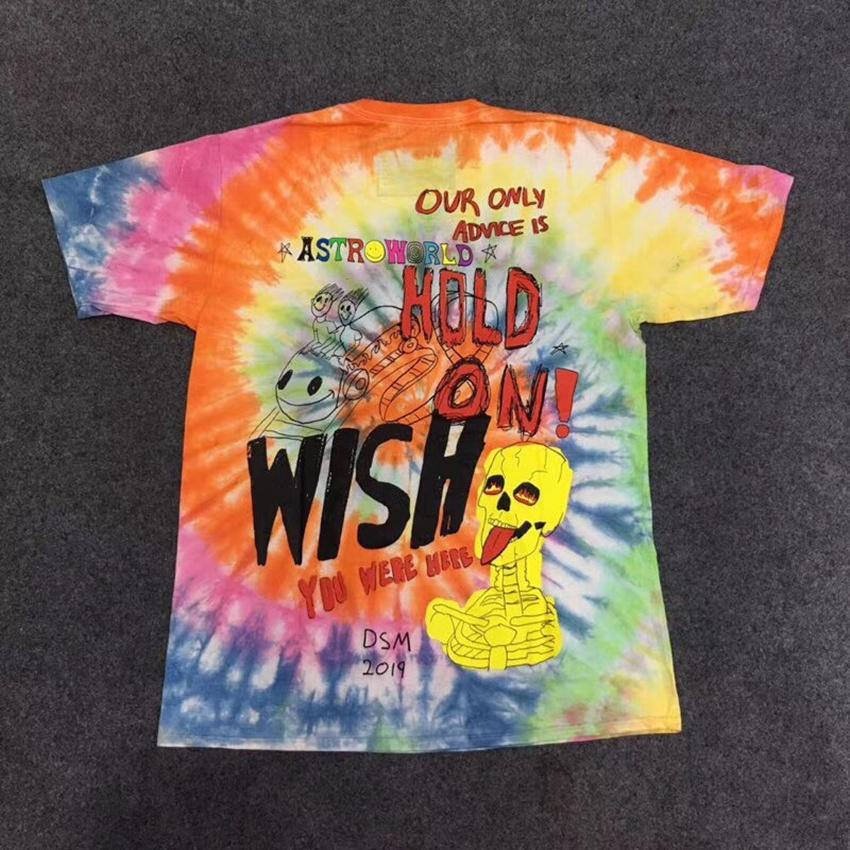 d89e4075ac5e 19ss Cactus Travis Scott Astroworld Sicko Tee T Shirt Men Women 1:1 High  Quality Tie Dyeing Hip Hop T Shirts J190525 Tee Shirts For Sale Random T  Shirts ...