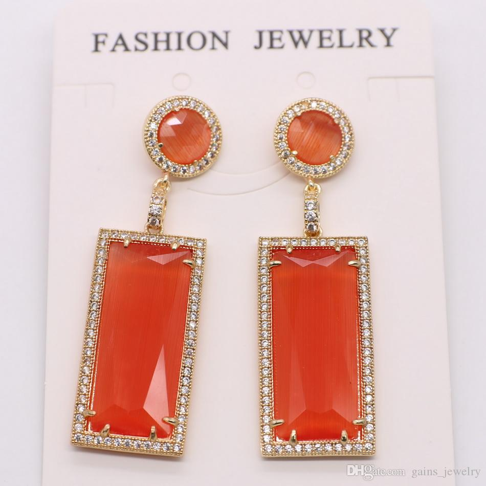 gains new style square pendant earrings for lady wholesale price free shipping
