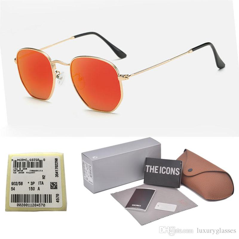 ac3848aca1 Brand Sunglasses Women Men High Quality Hexagonal Metal Sun Glasses  Irregular Hexagonal Personality Flat Glass Lenses With Cases And Label  Sport Sunglasses ...