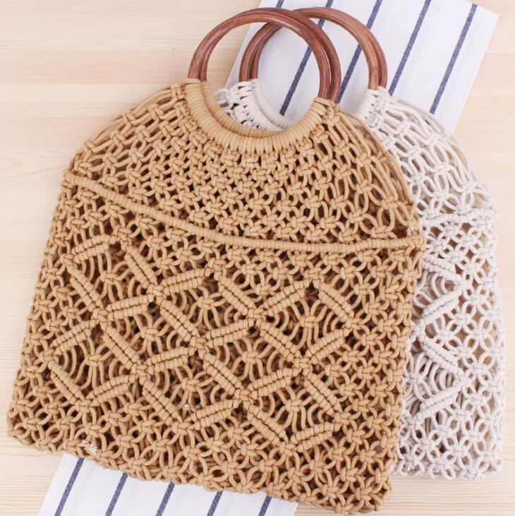 Factory wholesale women handbag summer new rattan hand woven bag women hollow handbag forest handmade cotton rope net holiday beach bag