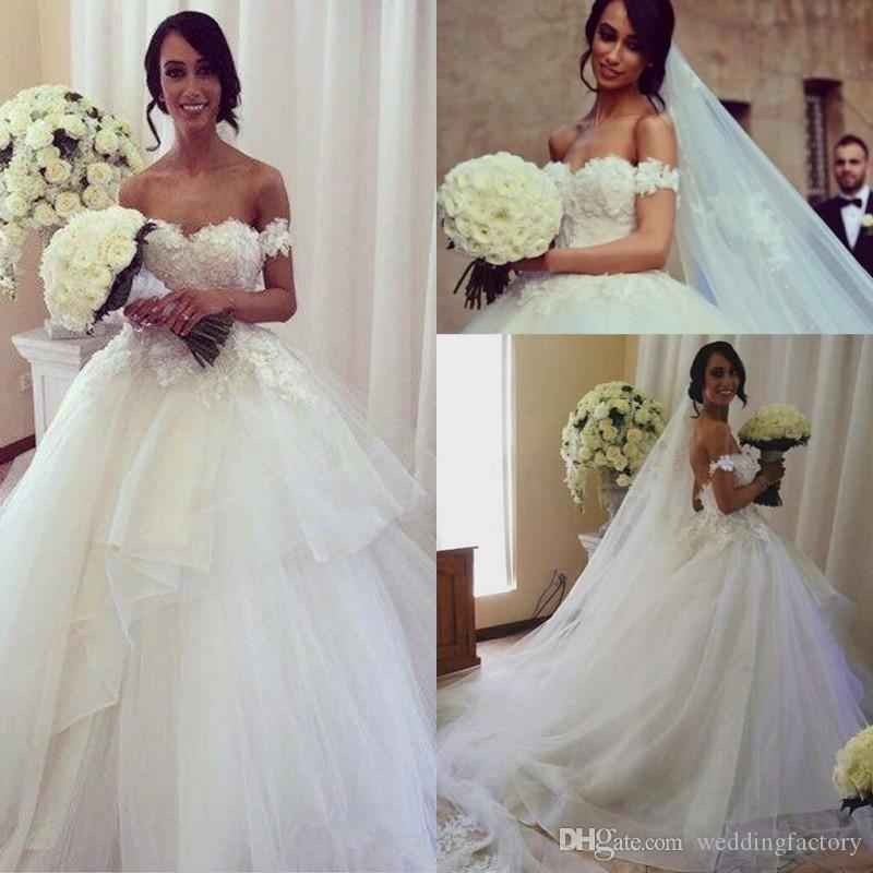 2019 Spring Gorgeous Wedding Dresses Sweetheart Off the Shoulder Lace Appliques Asymmetrical Ruffled Tulle A-line Bridal Gowns Open Back