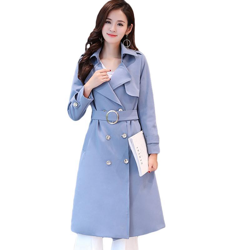 1877c8bbe8412 Satın Al Büyük Boy 5XL Yeni 2019 İlkbahar Sonbahar Kadın Uzun İnce Trençkot  Zarif Moda Kruvaze Rüzgarlık Palto CM1091, $74.29 | DHgate.Com'da