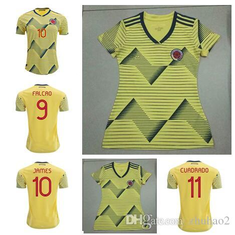 buy popular 9469b 00607 2019 World Cup Colombia Women Home Soccer Jersey JAMES Rodriguez FALCAO  Columbia Men Football CUADRADO VALDERRAMA maillot de foot