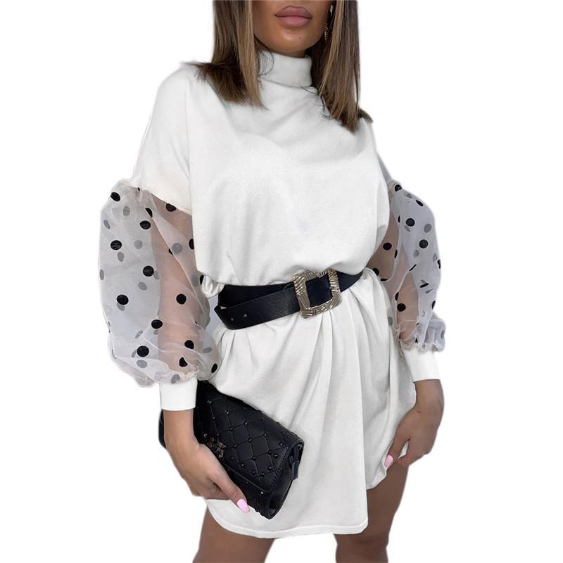 Nueva mujeres de la manera ocasional sólida de malla partido de las señoras Bodycon de la manga larga de cuello alto soplo Wrap Jumper mini vestido