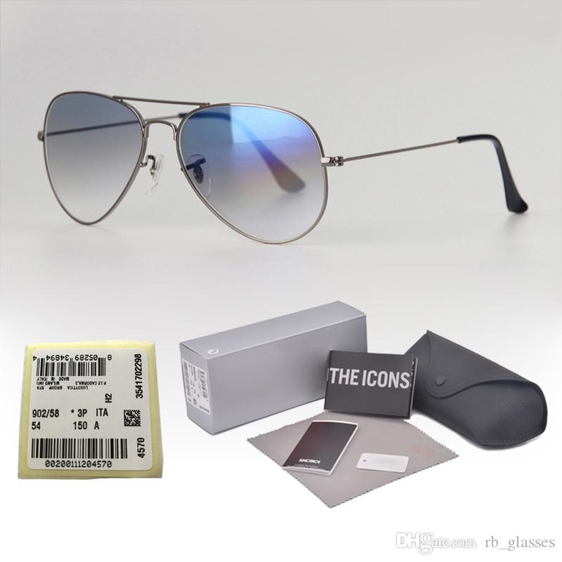 18 Colors Brand Designer Pilot Sunglasses for Men Women Metal frame uv400 gradient glass lens With free Case and label