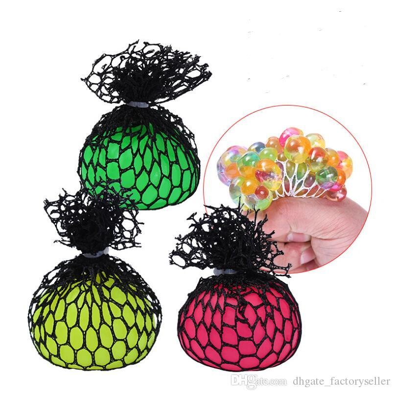 New Funny Rubber Grape Ball Black Mesh Squeeze Toy Stress Autism Mood Relief Gadget with dhl free shipping LX5179