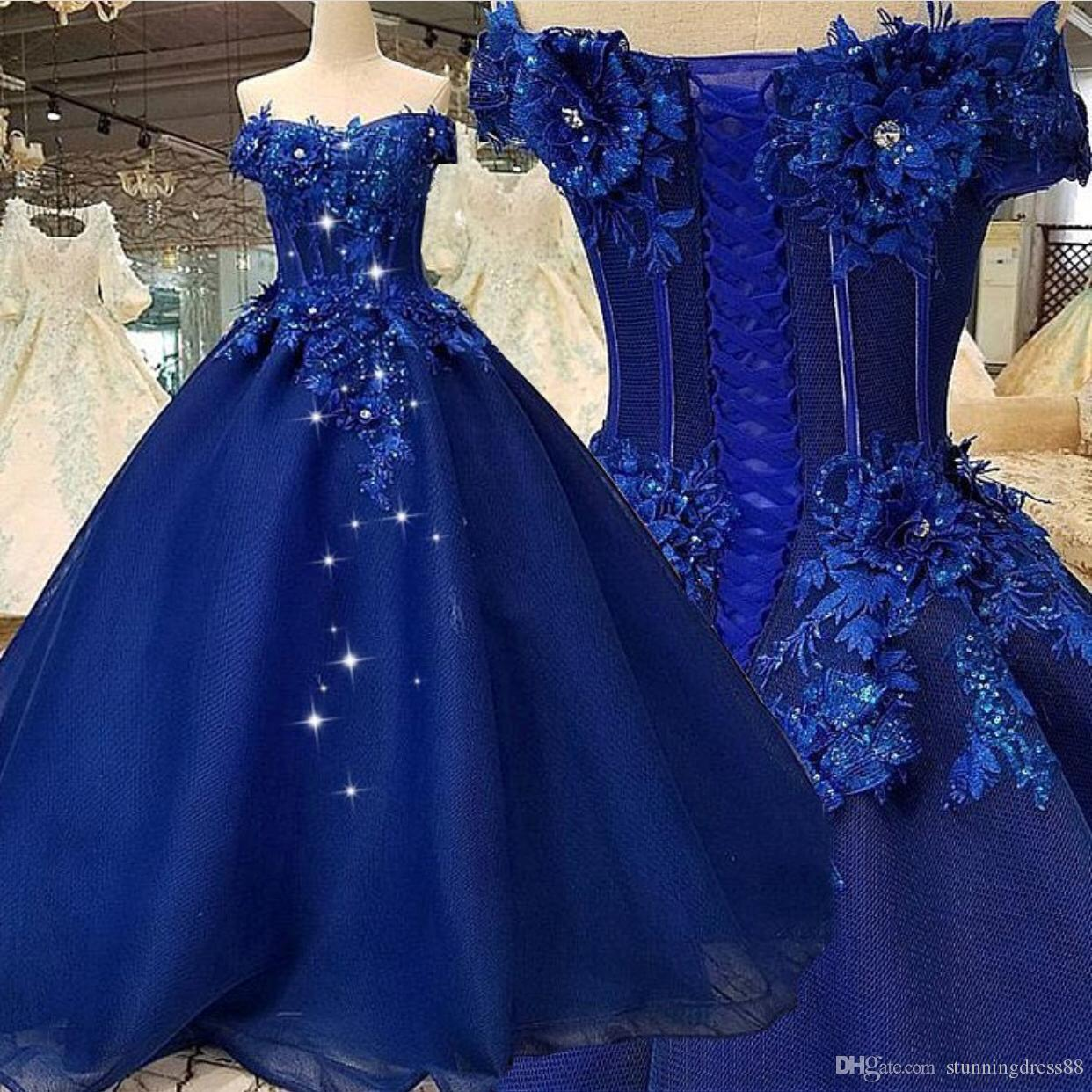 Most Beautiful Prom Dresses Ball Gown: Royal Blue 2020 Quinceanera Ball Gown Prom Dresses Long 3D
