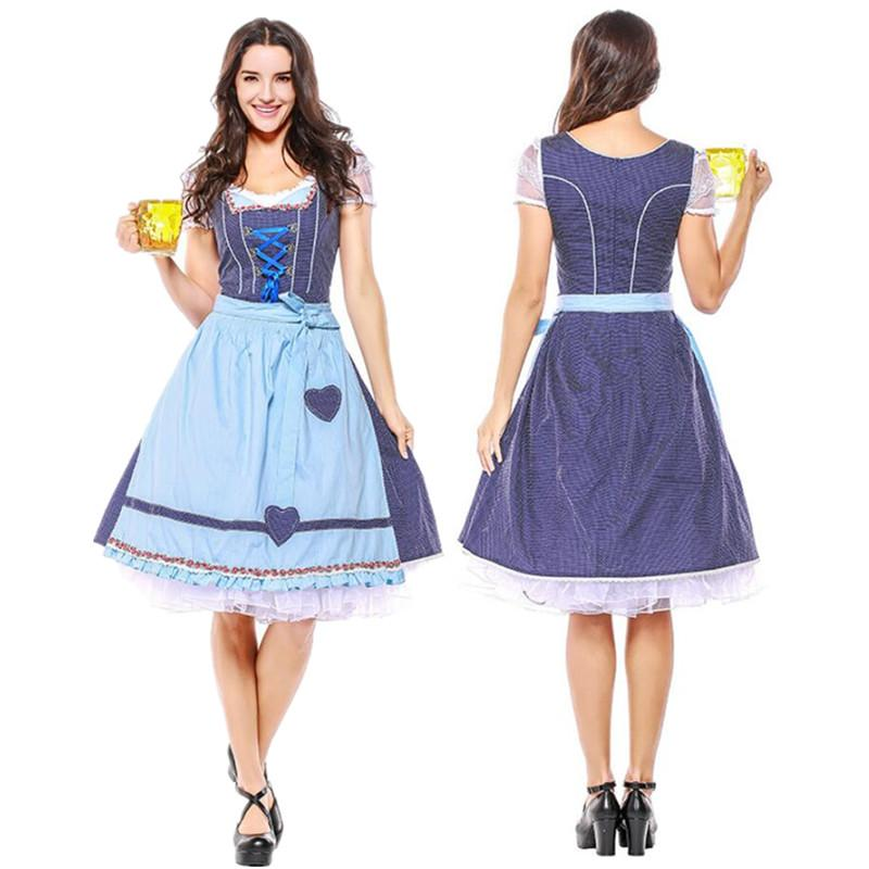 Traditional Sexy Blue Bavarian Oktoberfest Costume German Beer Wench Waitress Serving Maid Costume Dirndl Dress S-3XL