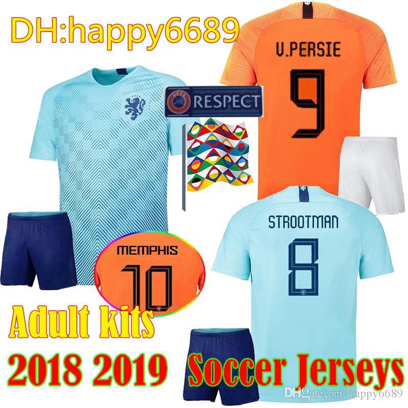 2b98328a7c305 Compre 2018 19 Holanda Homens Kits Camisa De Futebol Laranja 18 19 Holanda  Equipe Nacional JERSEY Memphis SNEIJDER V.Persie Camisas De Futebol Holandês  De ...