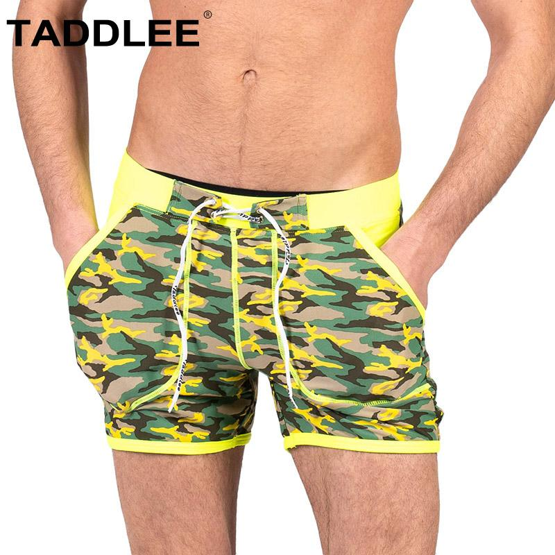 Taddlee Trajes Marca Bikini Pierna Hombres Cuadrado Para Calzoncillos Corte Larga Bolsillos Baño Surf Bañadores De BWreCdox