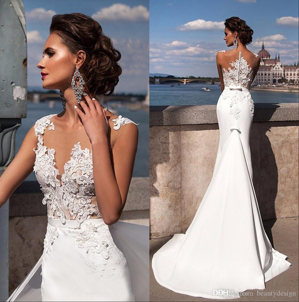 Sexy Summer Beach Mermaid Wedding Dresses 2019 Julie Vino Bateau Neckline Lace Appliques Beaded Chapel Train Bridal Wedding Gowns