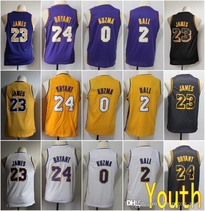 detailed look 05ce6 9d791 Youth Kids Los Angeles 23 James Laker Jersey 24 Kobe LeBron Bryant 0 Kuzma  2 Lonzo Kyle Ball Purple City Black Basketball Stitched Size S-XL