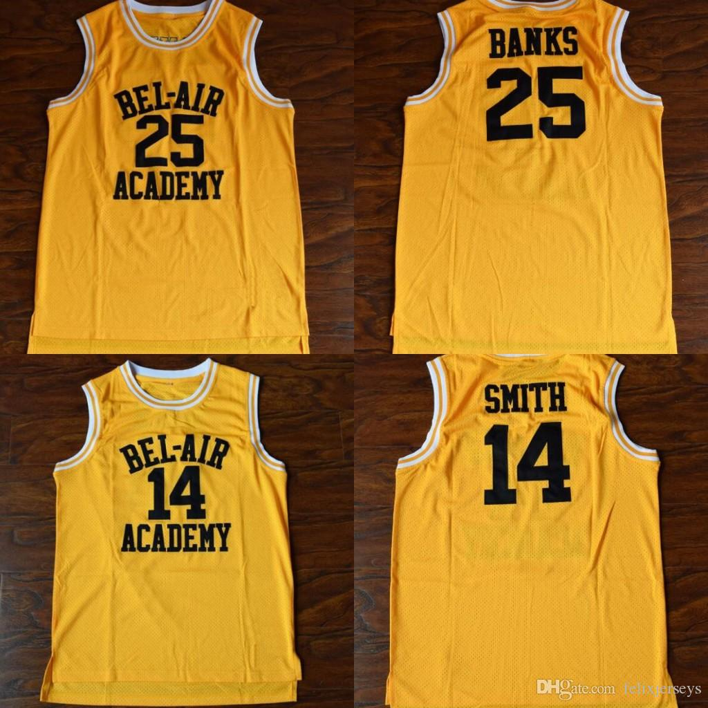 lower price with cbca9 2e1ae Hot Will Smith #14 Bel-Air Academy Basketball Carlton Banks #25 Bel-Air  Academy Movie Basketball Jersey Men Free Shipping