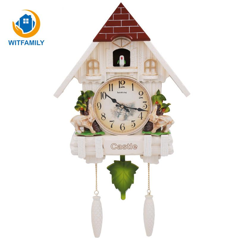 Vintage Bird Time Bell pendaison Cuckoo Clock Antique Handcraft Clock pour la décoration de la maison Art SwingWall Salon