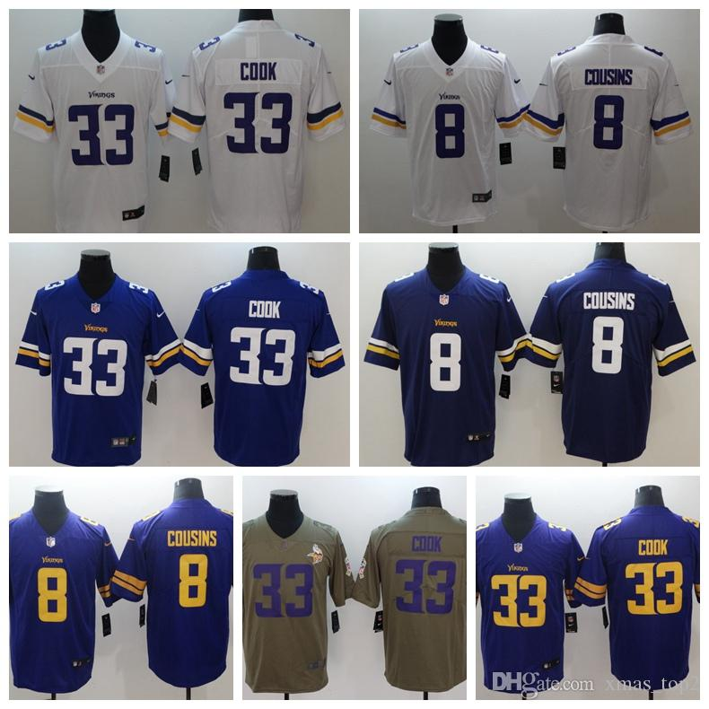 new concept ea514 e8dca 2019 New Mens 33 Dalvin Cook Jersey Minnesota Vikings Football Jersey 100%  Stitched Embroidery 8 Sam Bradford Color Rush Football Shirts