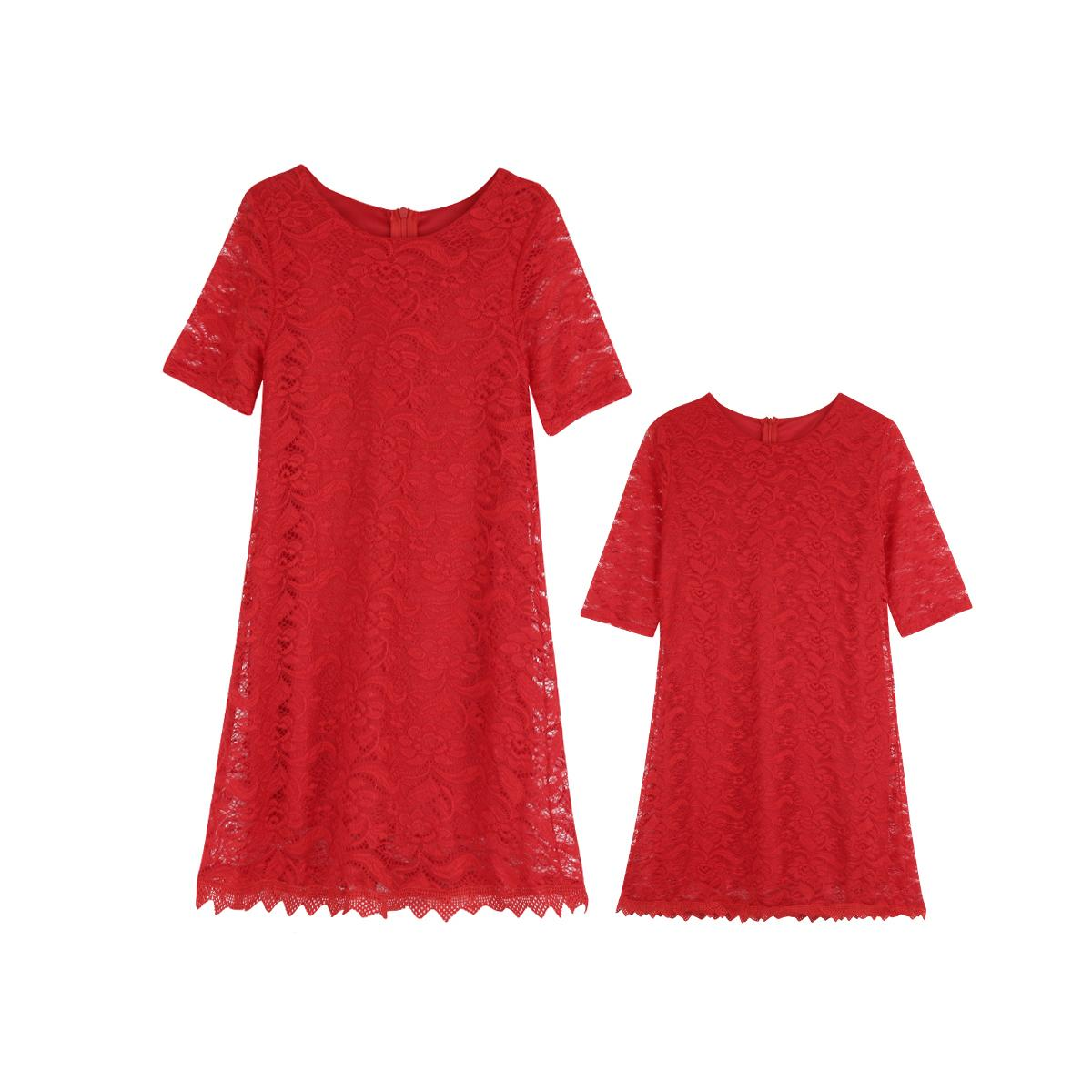 Emmababy Famille Matching Mère et fille dentelle Robe courte demi manches Zippers Casual Vêtements famille Tenues