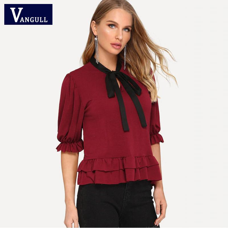 Vangull Wine Red Summer Chiffon Ruffle Blusa Mujeres Solid Bow Tie Media manga Tops 2019 Nuevas mujeres ocasionales OL Work Lady Blusas