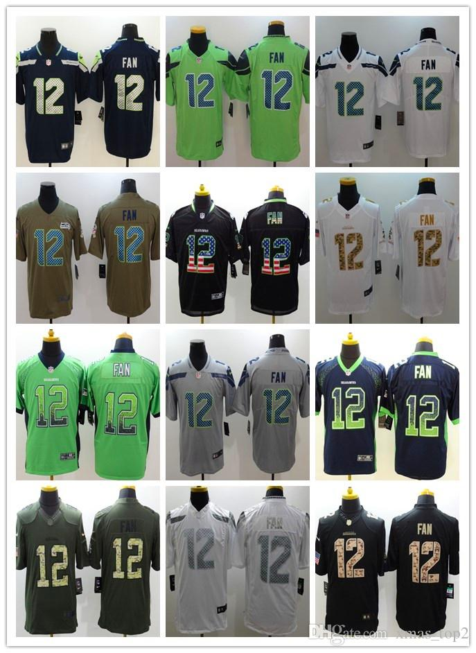 83edefdd New Mens 12 12th Fan Jersey Seattle Seahawks Football Jersey 100% Stitched  Embroidery 12th Fan Color Rush Football Shirts Best Quality