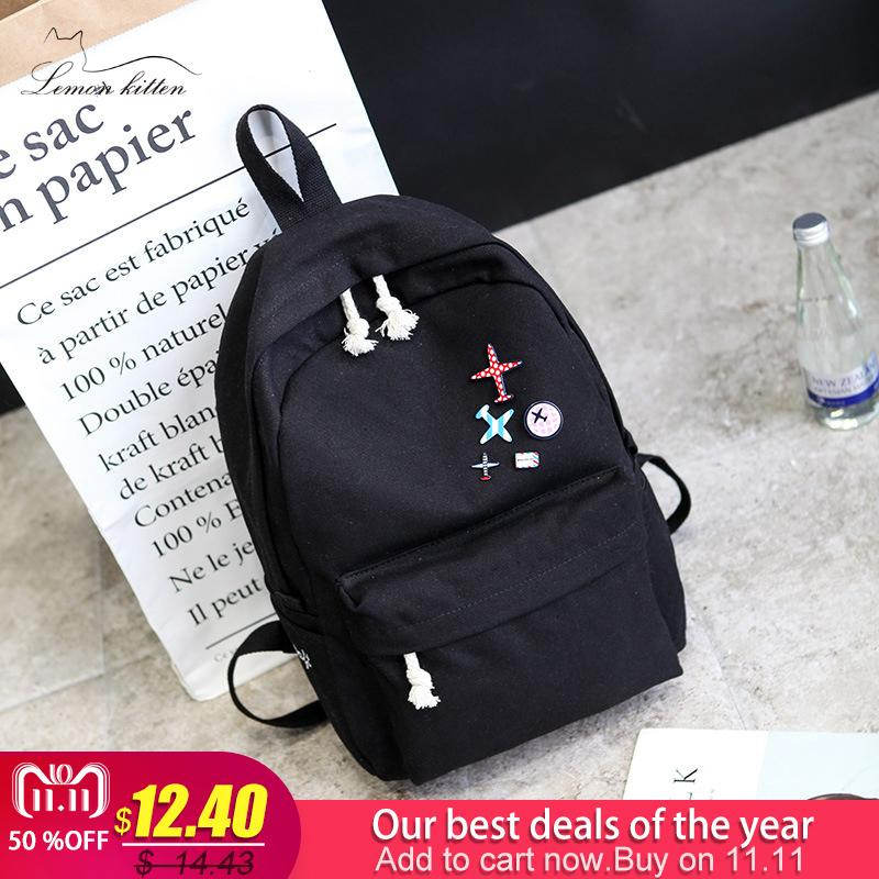 b842a5f181d2 2019 Fashion2018 Solid Color Canvas Women Backpack High Capacity School Bag  Student Adolescent Girl Backpack Female Rucksack Mochila Bagpack Black  Backpack ...