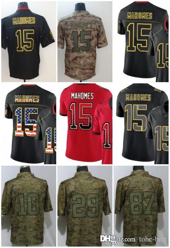 half off 4ab5f 1691e Kansas City 15 Patrick Mahomes Jerseys 29 Eric Berry 87 Travis Kelce Chiefs  2018 Salute to Service USA Flag Lights out Black Rush Drift