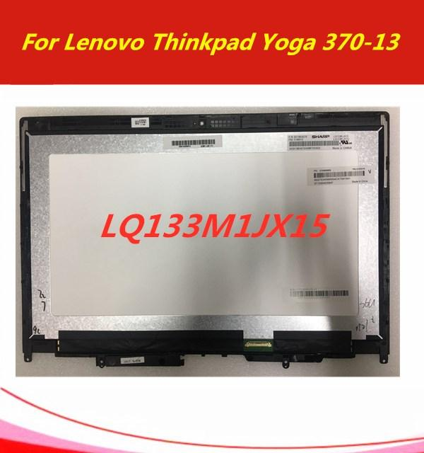 For Lenovo Thinkpad Yoga 370 FHD LCD Display Touch Screen Glass Digitizer  Assembly+Frame 01HW909 01HW910 SD10M34076 SD10M34078