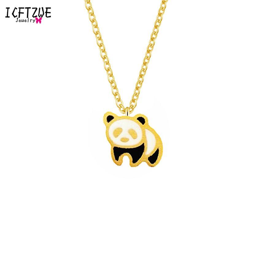 fcecf68f4ad4 ICFTZWE Joyería Única Ketting Bff Oro Color Plata Bijoux Cadena Esmalte  Panda Collar Llamativo Para Las Mujeres Accesorios de Viaje C18122801