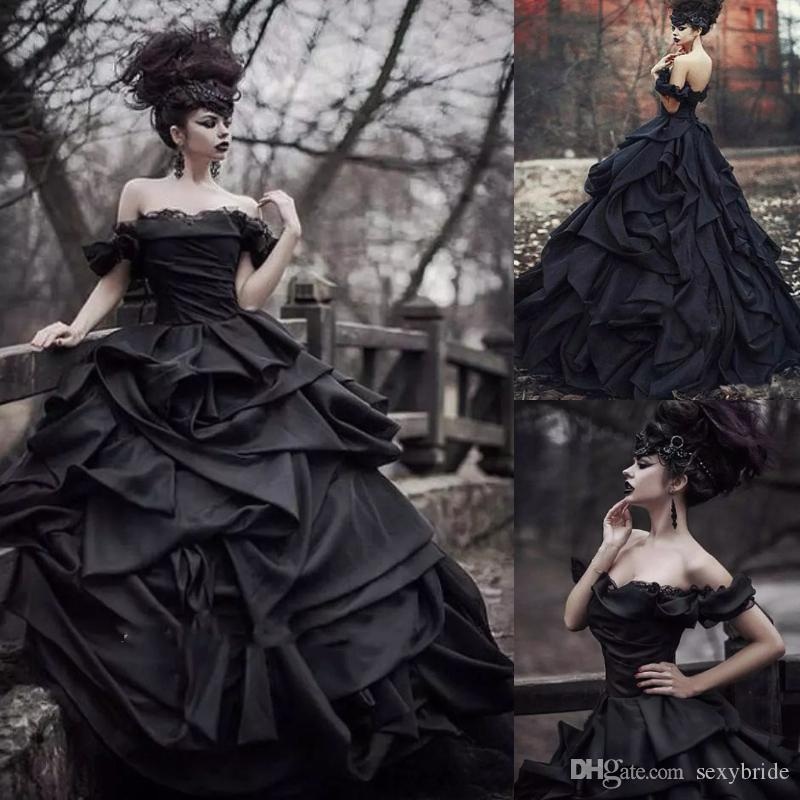 Vintage Black Ball Gown Wedding Dresses Taffeta Off The Shoulder Sleeveless  Floor Length Cascading Ruffles And Ruched Gothic Bridal Gowns Custom Wedding  ... 1bdeb5541683