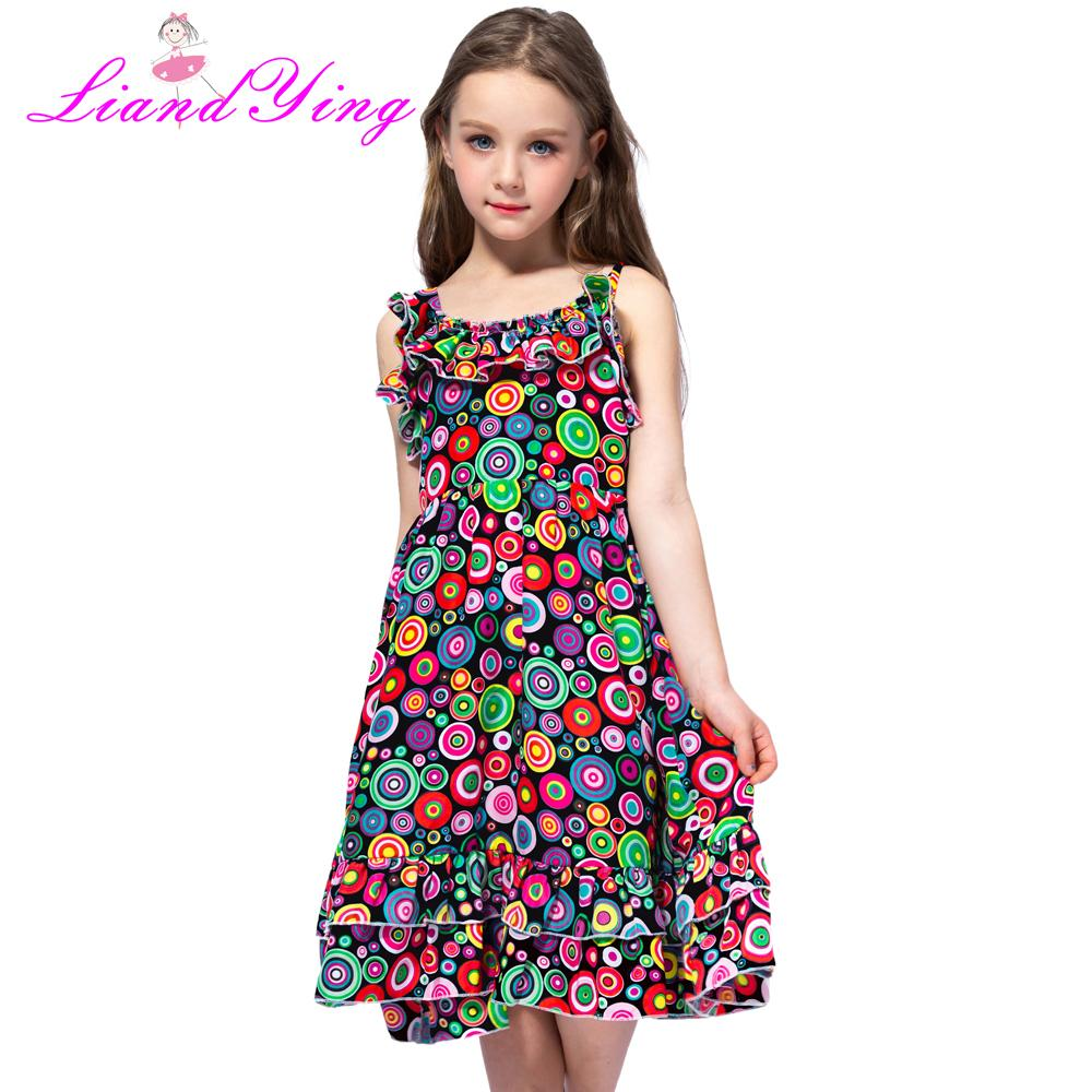 377f9915c68ac Fashion New 2018 Bohemian Print Girls Dress Summer Dresses Beach Strap Baby  Dress Child Kids Dresses For Girls Clothes Y190516