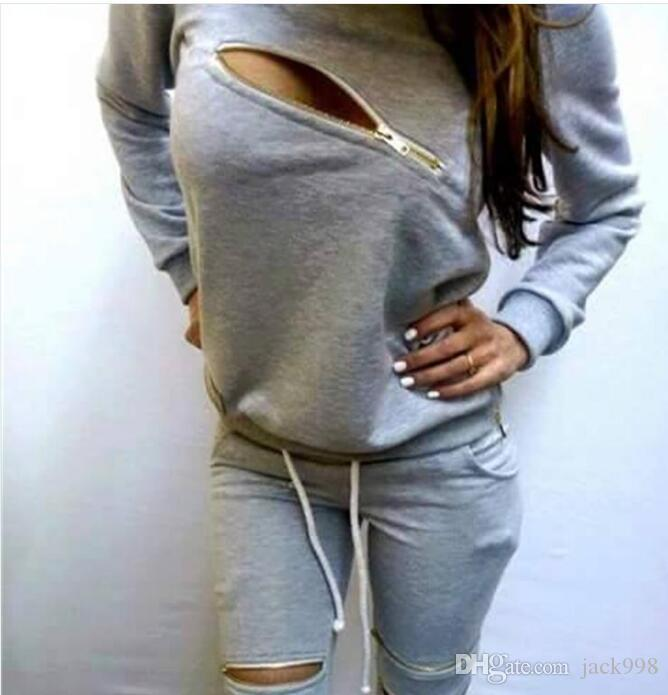 Womens Casual Fashion Autumn Long Sleeved Two-piece Jogger Set Ladies Fall Tracksuit Sweat Suits Jacket + Pants