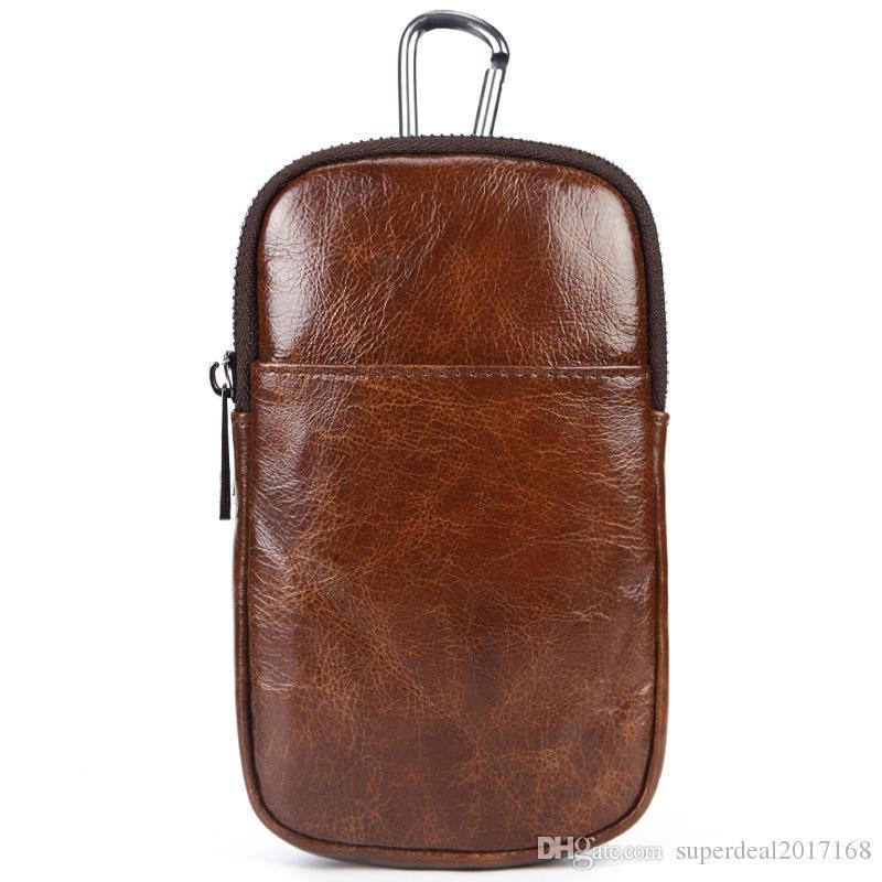 0bcca183a40b Men Fashion Waist Packs Brand Genuine Leather Phone Waist Pouch ...