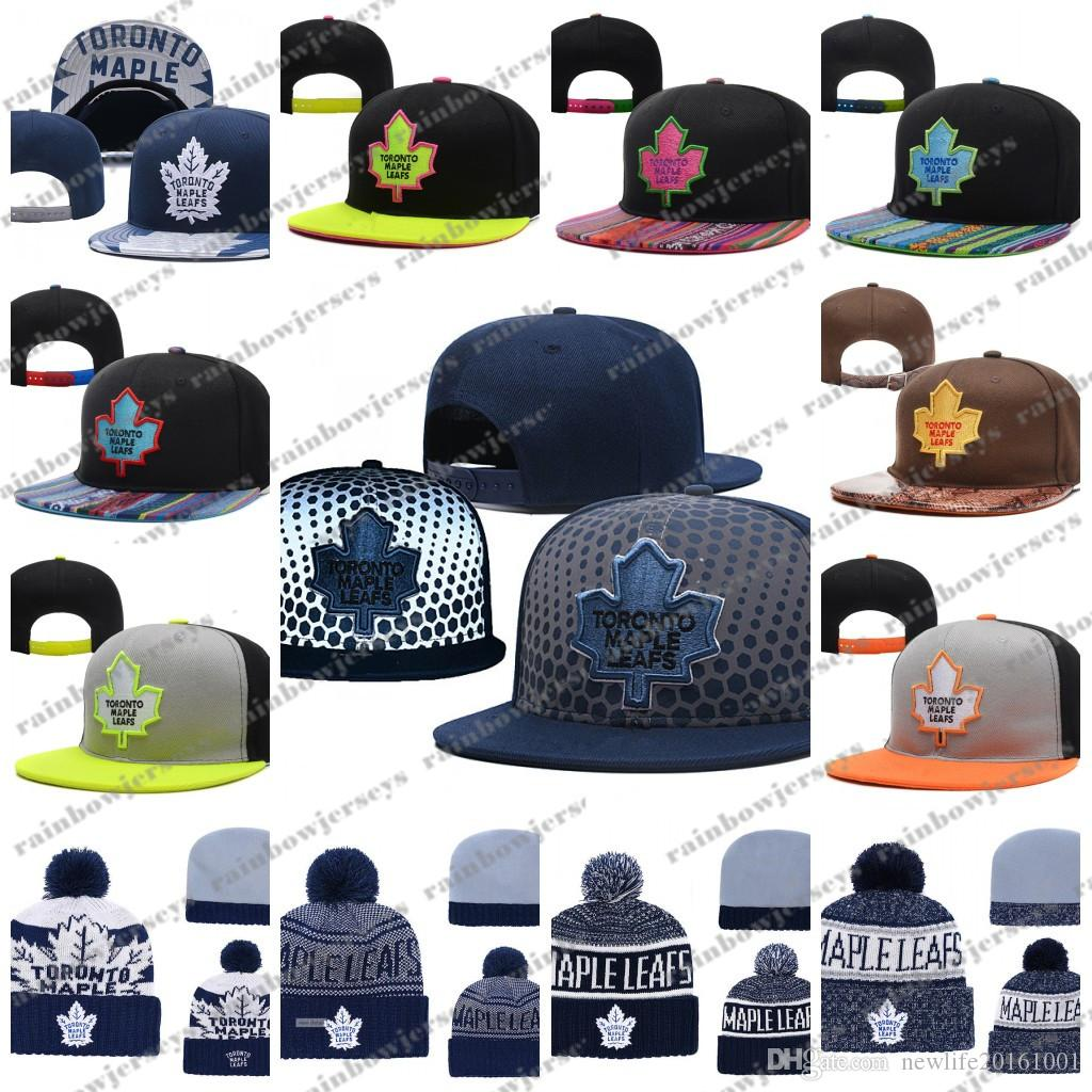 2019 Toronto Maple Leafs Snapback Caps Embroidery Ice Hockey Knit Beanies  Adjustable Hat Black Blue Gray White Stitched Hats One Size For All From ... 08adb8e5466