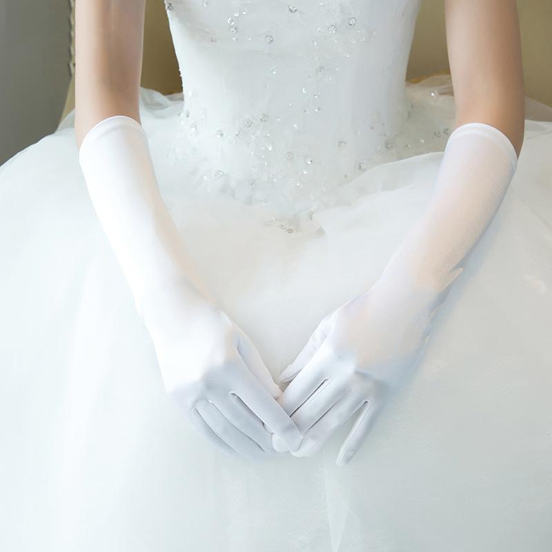 White Long Satin Elbow Gloves Wedding Bridal Bridesmaids Full Finger Glove Accessories Women Costume Performance