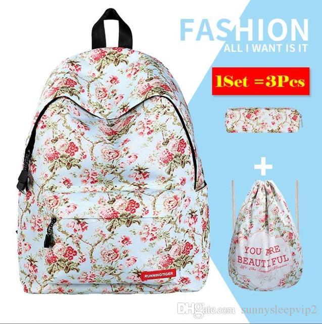 52625077a7f9 Floral Printed Girls School Backpack Set 3 In 1 Bookbag+Drawstring  Bag+Pencil Case Teen Girls Backpacks Laptop Shoulder Daypack Travel Backpack  Cute ...