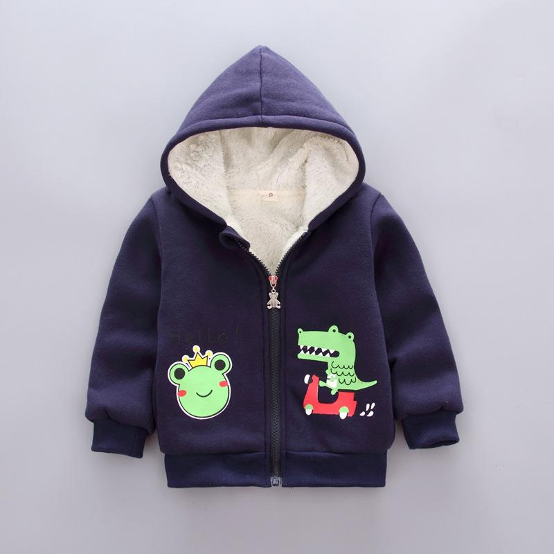 74a7c1201 Winter Baby Girls Coat Cartoon Deer Dinosaur Warm Hooded Kids With ...
