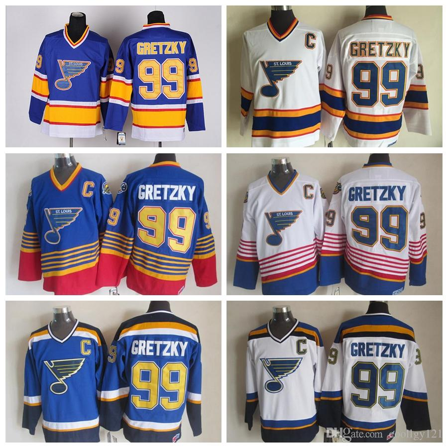 2019 Top Quality  99 Wayne Gretzky Jerseys Vintage St. Louis Blues Jersey  CCM Vintage Mens 99 Wayne Gretzky Hockey Jersey Stitched C Patch From  Coollgy121 0bfe3402bc3