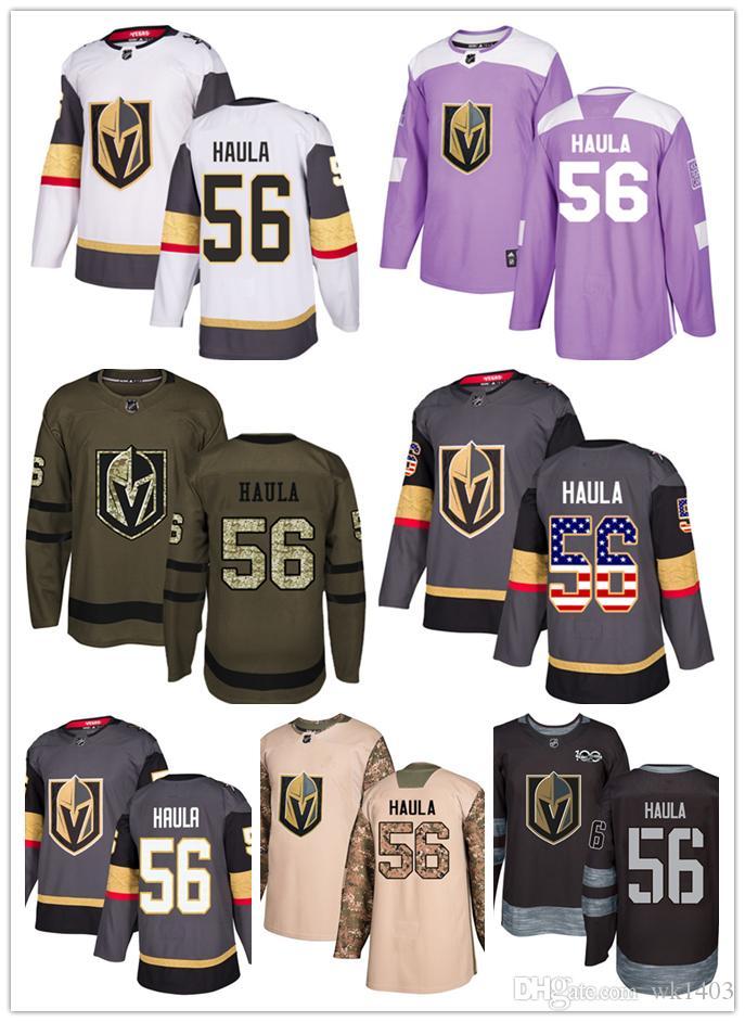 purchase cheap f20f5 6f431 Vegas Golden Knights jerseys #56 Erik Haula jersey ice hockey men women  gray white black Authentic winter classic Stiched gears Jersey